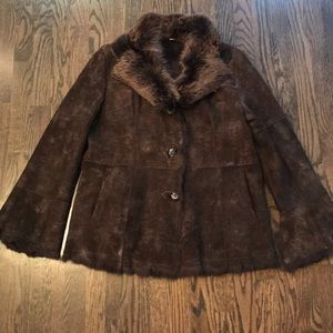 Fur lined suede leather jacket.